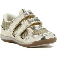 Tênis Infantil Para Bebê Menina - Dourado - Feminino-Dourado