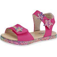 Sandália Flib Infantil Velcro Menina Pink Glitter