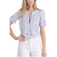 Blusa Sideral Azul Trançada No Decote E Detalhes Na Estampa