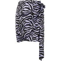 Andamane Zebra Wrap Skirt - Preto
