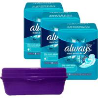 Kit 3 Absorventes Always Proteçáo Total Seca Com Abas + Frasqueira Always Roxa - Tricae
