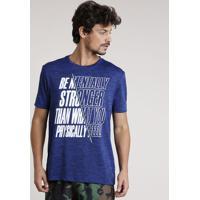 "Camiseta Masculina Esportiva Ace ""Mentally Stronger"" Manga Curta Gola Careca Azul Royal"