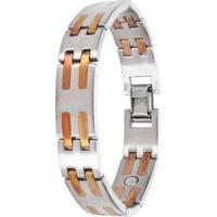 Pulseira Sabona Stainless Copper Bar Magnetic - Masculino-Prata
