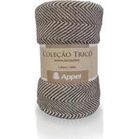 Manta Appel Tricô Decorativa P/ Cama E Sofá - Chevron Marrom