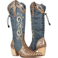 Bota Texana Country Capelli Boots Jacaré Em Couro Com Zíper Lateral Feminina - Feminino-Marrom+Azul