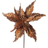 Flor Decorativa Com Brilho- Bronze- 40X30X30Cm- Cromus