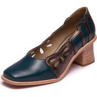 Sapato Feminino Em Couro Pelica Azul Noite / Metalizado Bronze - Lynda Carter 9303 - Kanui