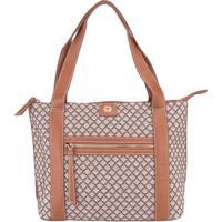 Shopping Bag Ana Hickmann Xadrez Caramelo -