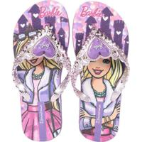 Chinelo Infantil Ipanema Barbie Coração Lilas