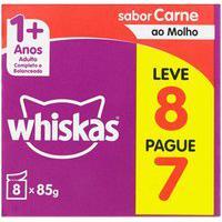 Ração Para Gatos Adultos Whiskas 1+ Anos Sabor Carne Ao Molho Leve 8 Pague 7 Unidades De 85G Cada