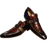Sapato Masculino Italiano Social Executivo Em Couro Art Sapatos Marrom Onça
