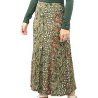 Saia Dpontes Viscolycra Mid Cós Elástico Fenda Floral Feminina - Unissex-Verde