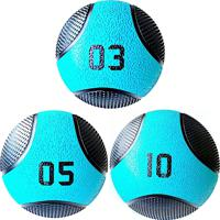 Kit 3 Medicine Ball Liveup Pro 5 E 10 Kg Bola De Peso Treino Funcional Lp8112 Azul