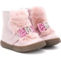 Monnalisa Faux Fur Leather Boots - Rosa