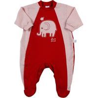 Macacão Bebê Moletinho - Cotton Listrado Elefant - Masculino