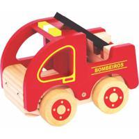 Carrinho De Madeira Newart Toys - Coleção Carrinhos - Bombeiro - Vermelho - Kanui