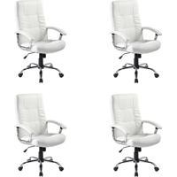 Conjunto Com 4 Cadeiras De Escritório Presidente Giratórias Office Plus Branco