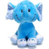 Chocalho De Pelucia Unik Toys Elefante Azul