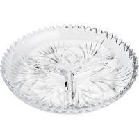 Petisqueira Lyor Com 3 Divisórias De Cristal Pluma Transparente - Kanui