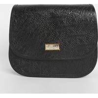 Bolsa Em Couro Texturizada Com Tag- Preta- 20,5X23,5Di Marlys