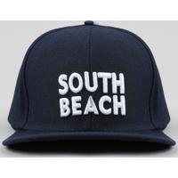 """Boné Infantil """"South Beach"""" Bordado Aba Reta Azul Marinho"""