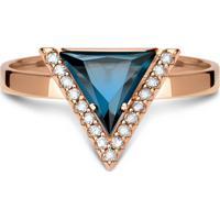 Anel Ouro Rosã© E Topã¡Zio London E Diamantes