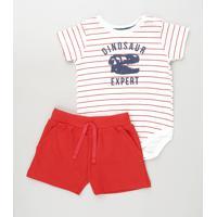 Conjunto Infantil De Body Listrado Manga Curta Branco + Short Vermelho