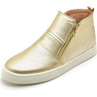 Bota Top Franca Shoes Hiate Word Feminino - Feminino-Dourado