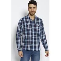 Camisa Xadrez Com Bolsos- Azul & Azul Marinholevis