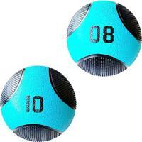 Kit 2 Medicine Ball Liveup Pro 8 E 10 Kg Bola De Peso Treino Funcional - Unissex