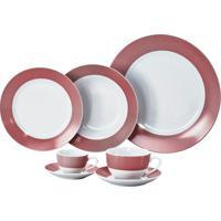 Aparelho De Jantar 42 Peças Porcelana Vermelha Super White Wolff