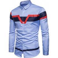 Camisa Slim Fit Triple Color - Azul Clara
