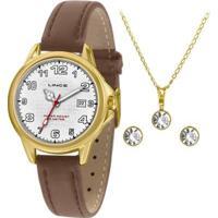 Kit Relógio Lince Feminino Urban Dourado Lrch104L-Kw60B2Wx - Feminino-Dourado+Marrom