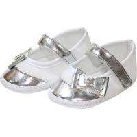 Sapatilha Metalizada Sapatinhos Baby Branca E Prata