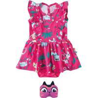 Vestido Rosa Godê Estampado Menina Zig Zig Zaa