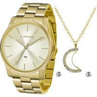 Kit De Relógio Analógico Lince Feminino + Brinco + Colar - Lrgj078L Kv56C1Kx Dourado