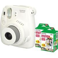 Câmera Instantânea Fujifilm Instax Mini 8 Branca + 2 Filmes Instantâneos Fujifilm Instax Pack Com 20 Unidades Cada
