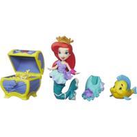Mini Boneca Com Acessórios - Disney Princesas - Little Kingdom - Ariel Com Baú De Tesouros - Hasbro - Feminino