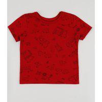 Camiseta Infantil Estampada De Carros Manga Curta Vermelha