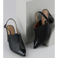 Sapato Feminino Vizzano Salto Alto Bico Fico Com Verniz Preto