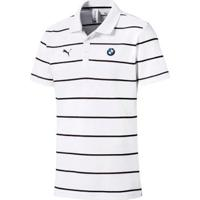 Camisa Polo Puma Bmw Striped Masculina - Masculino-Branco