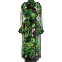 Dolce & Gabbana Trench Coat Translúcido Com Estampa Botônica - Verde