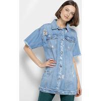 Colete Camisa Jeans Coca-Cola Manga Curta Desfiado Puídos Feminino - Feminino-Azul