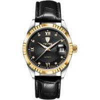 Relógio Tevise 629-003 Masculino Automático Pulseira De Couro - Preto E Dourado