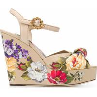 Dolce & Gabbana Sandália Floral - Neutro