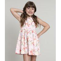 Vestido Infantil Estampado Floral Com Vazado E Laço Sem Manga Rosa Claro