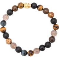 Nialaya Jewelry Pulseira Com Olho De Tigre, Jasper E Ônix - Estampado