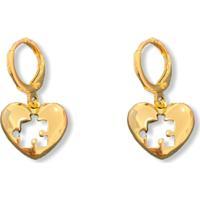 Brinco Narcizza Argolinha Coração Quebra-Cabeça - B520(1)