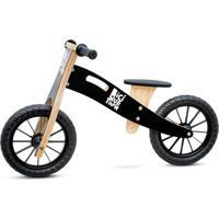 Bicicleta De Equilíbrio Biciquetinha Sem Pedal De Madeira - Lousa (Escreve E Apaga) - Preto - Tricae
