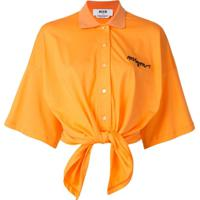 Msgm Camisa Polo Oversized - Laranja